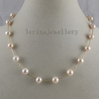 Terisa Pearljewelry Perfect Natural Color Pink AA 8 9MM Freshwater Pearl Necklace Made With Tube Yellow