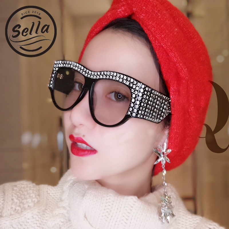 Sella 2018 New European Style Oversize Cateye Sunglasses Fashion Women Brand Designed Luxury Crystal Decoration Sun Glasses