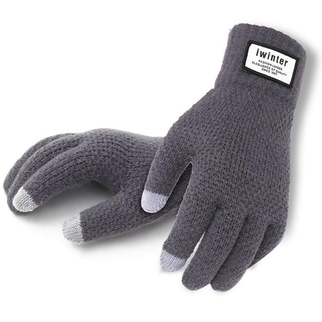 Для мужчин кашемир трикотажные Прихватки для мангала толстые теплые лоскутные сенсорный экран варежки Зима Весна мужской сплошной Фитнес перчатки тренировки mitaine
