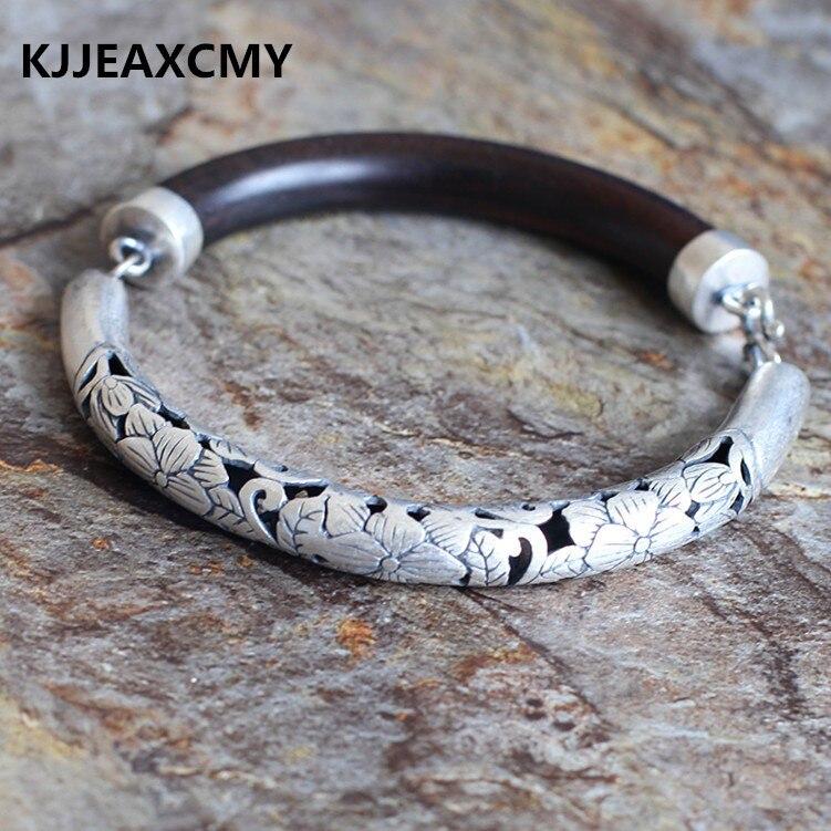 KJJEAXCMYSilver products the whole network cheap semi hollow sterling couple models ebony bracelet half generic models