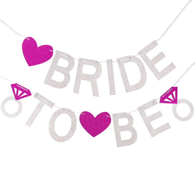 bride to be banner high quality glitter paper silver rose pink heart