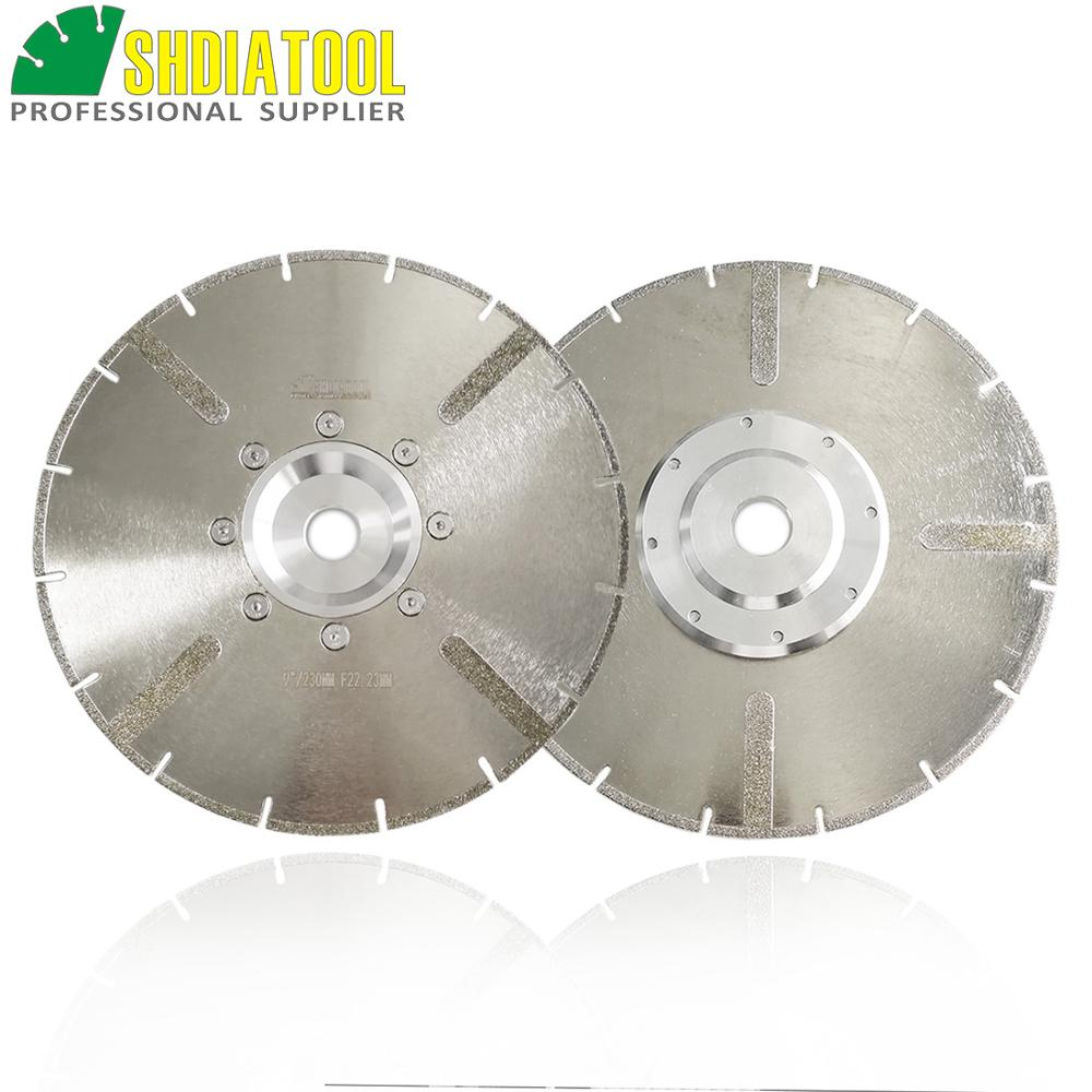 SHDIATOOL 2pcs 230mm Electroplated Reinforced Diamond Cutting Disc 9 Inches Marble Saw Blade With 22.23mm Flange Diamond Wheel