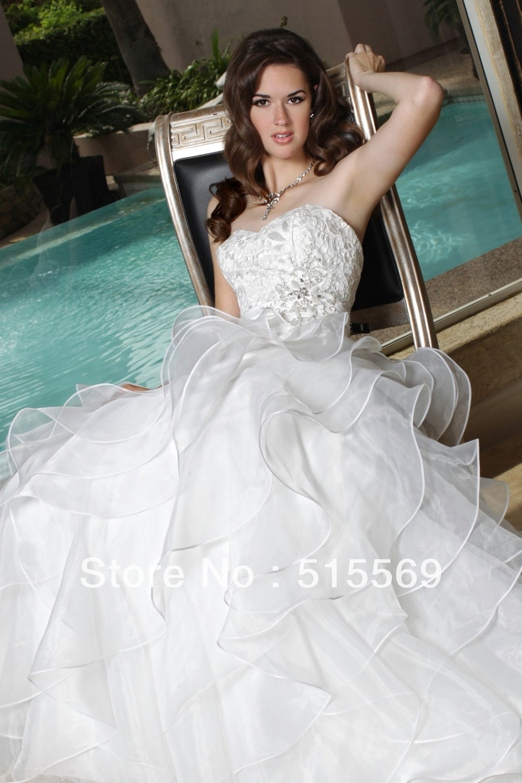 Most Beautiful Princess Sweetheart A Line Chapel Train Ruffles Organza Unique Wedding Dress 2014