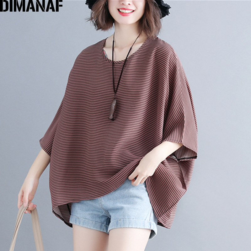 DIMANAF Plus Size Women   Blouse     Shirt   Summer Lady Tops Tees Big Size Batwing Sleeve Loose Casual Striped Female Clothes 5XL 6XL