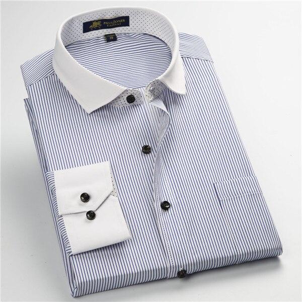 Pauljones 57xx дешевый воротник дизайн с длинными рукавами для мужчин s полосатые рубашки Повседневное платье Мужская рубашка в клетку Высококачественная Мужская одежда - Цвет: 5753
