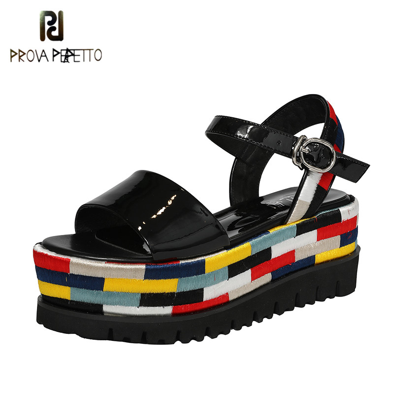 Prova perfetto Rome Style 2019 Colorful Patent Leather Woman Sandals High Platform Thick Bottom Open Toe