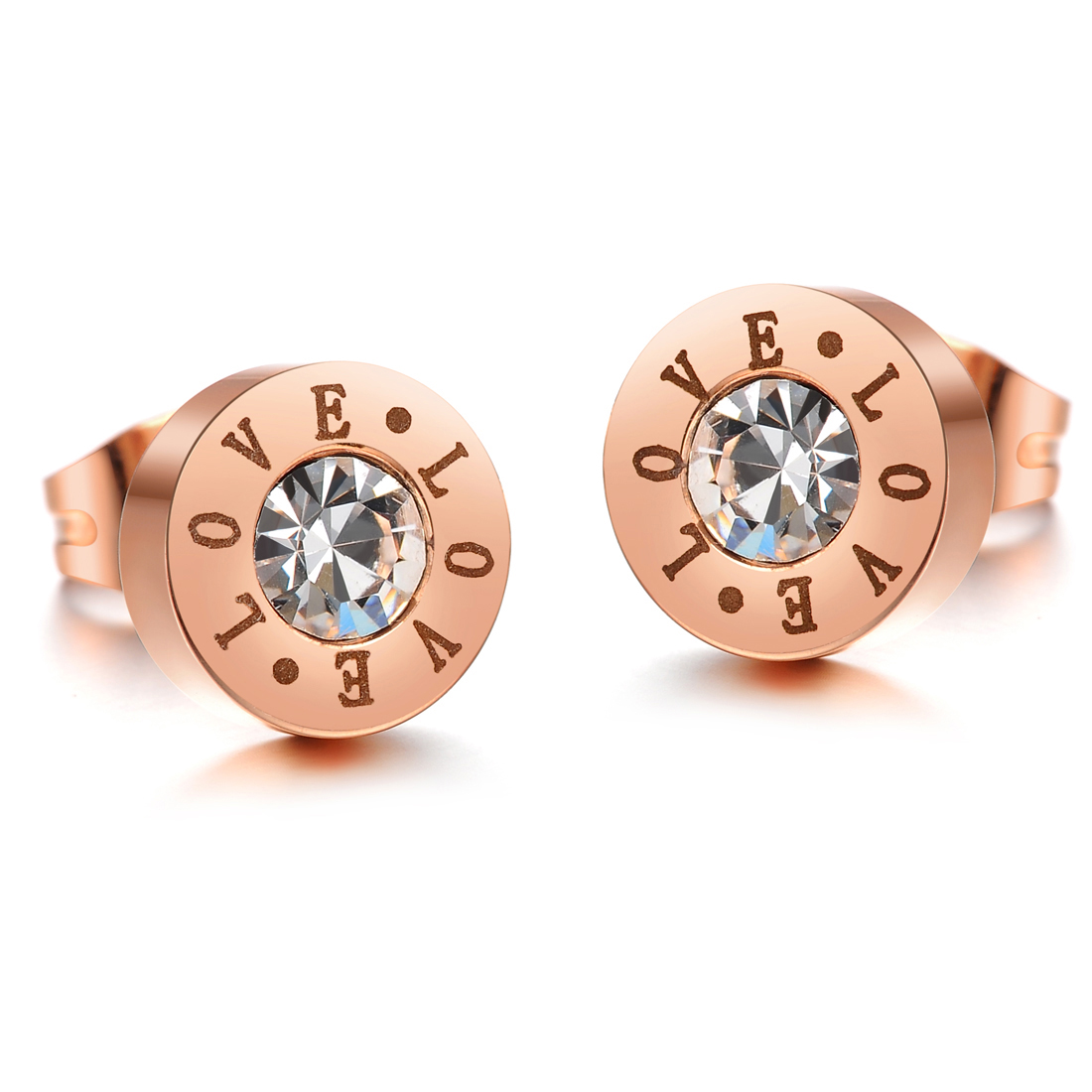 color inlaid with aaa gold gift for in rose beauty jewelry trendy plated perfect zircon stud from steel stainless item stone mother earrings women cz