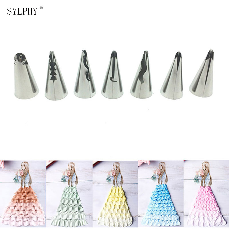7 st. Metall Cream Decoration Tips Set DIY Cake Piping Verktyg Fold Pastry Nozzle