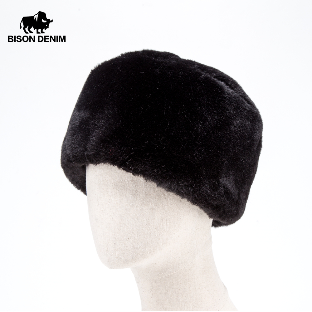 BISON DENIM 2019 NEW Faux Fur Winter Hat Men Women Russian Cap Beanie Skullcap Earflap Ushanka Snow Warm Hat M9492(China)