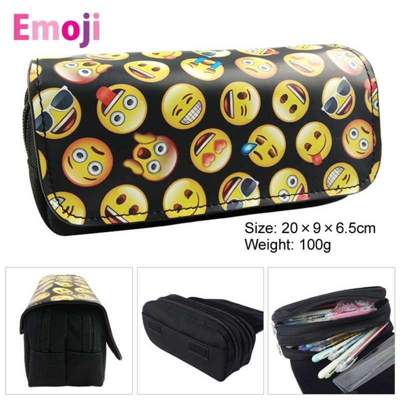 Cute Kawaii Emoji Penal School Canvas Pencil Case Printing Large Pencilcase for Girls Boys Pen Bag Stationery Pouch Box Supplies large capacity canvas pen case for boys korean big kawaii pencil bag box multifunction stationery holder school supplies pencase