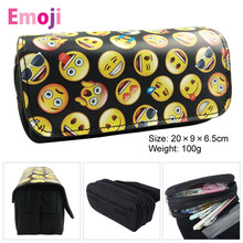 Cute Kawaii Emoji Penal School Canvas Pencil Case Printing Large Pencilcase for Girls Boys Pen Bag Stationery Pouch Box Supplies