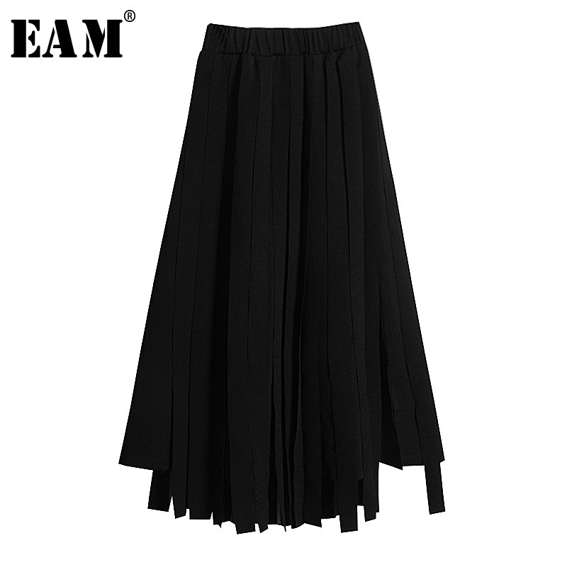 [EAM] 2020 New Spring Summer High Elastic Waist Black Loose Tassel Spliced Half-body Skirt Women Fashion Tide All-match JY510