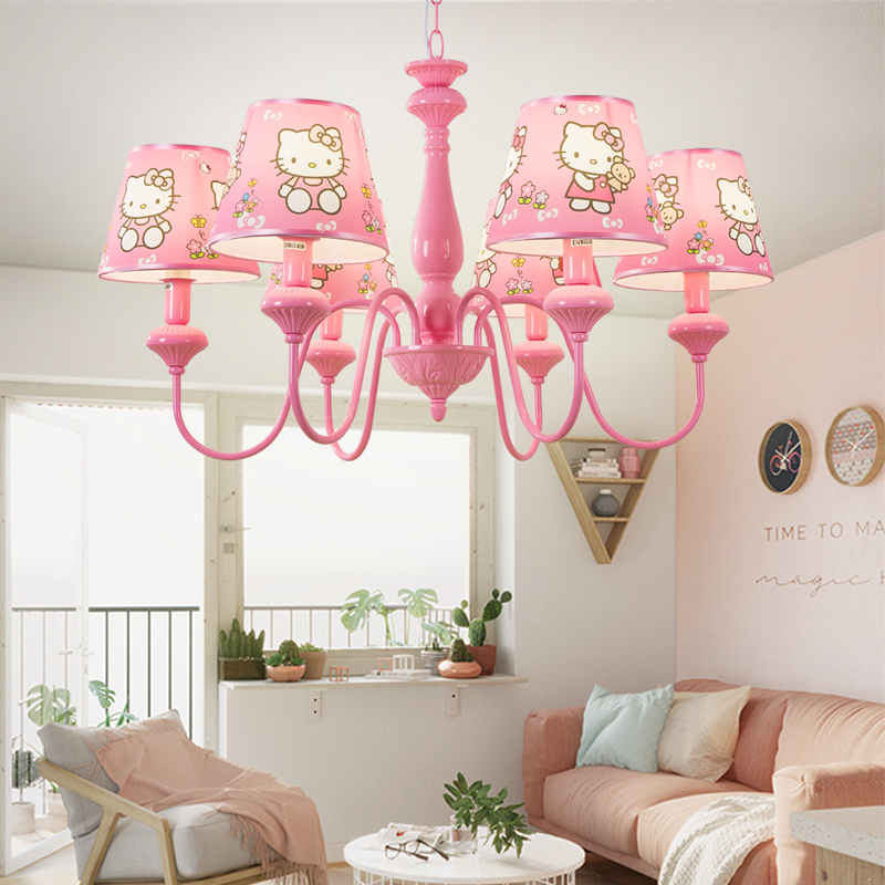 Здесь можно купить  Mini pink Chandelier lighting for Children bedroom modern Hello Kitty cloth pink lampshade led kid