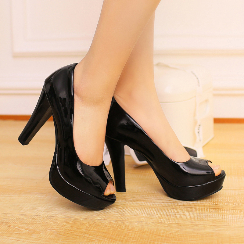 Aliexpress.com : Buy Vogue Peep Toe Block Heel Pumps Black Womens ...
