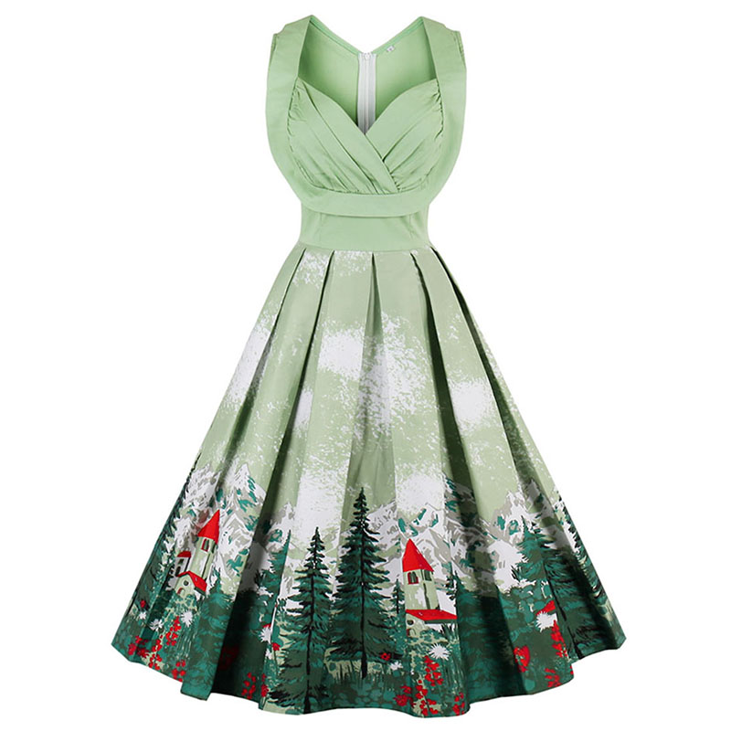 Sisjuly vintage dresses 2017 floral print 1950s style cute summer party  women dress spring short sleeveless vintage dresses dc8352b7308e