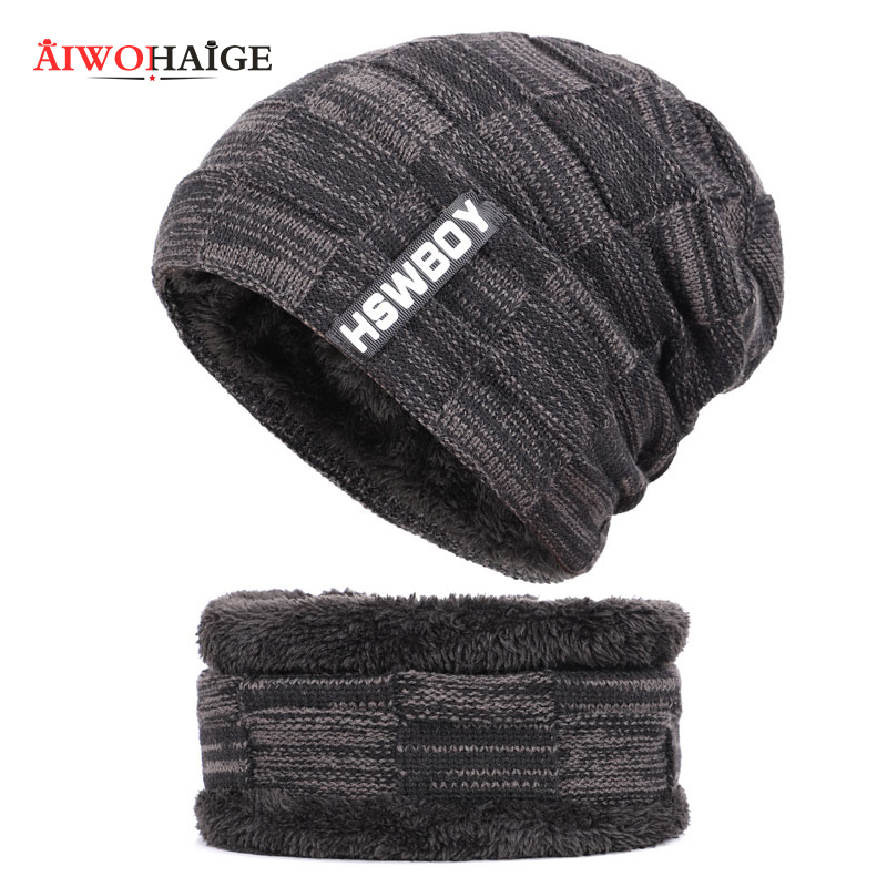 Winter Beanies Men Scarf Knitted Hats Caps Mask Bonnet Warm Baggy Winter Hats for Men Women