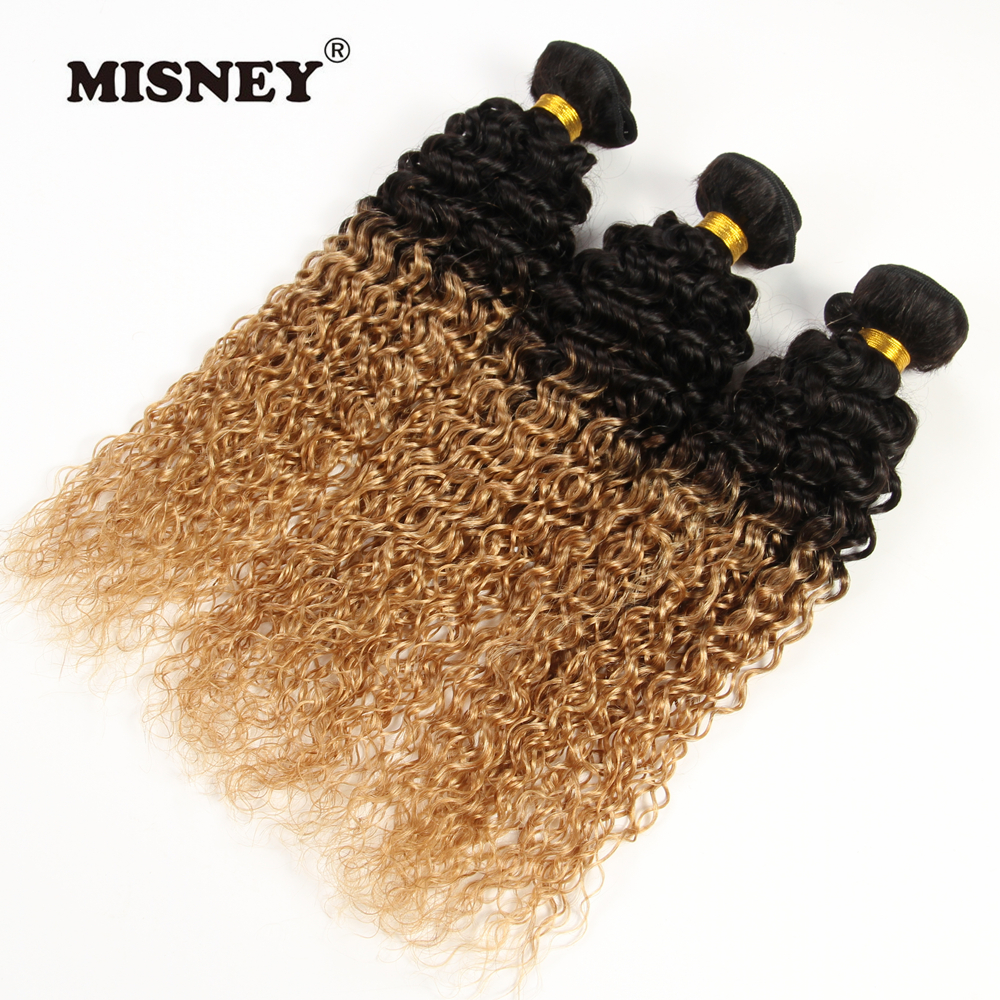 Indian Non Remy Ombre Human Hair Exension Jerry Curl T1B27 Two Tone 3 Bundles Hair Weaving 100g/pc