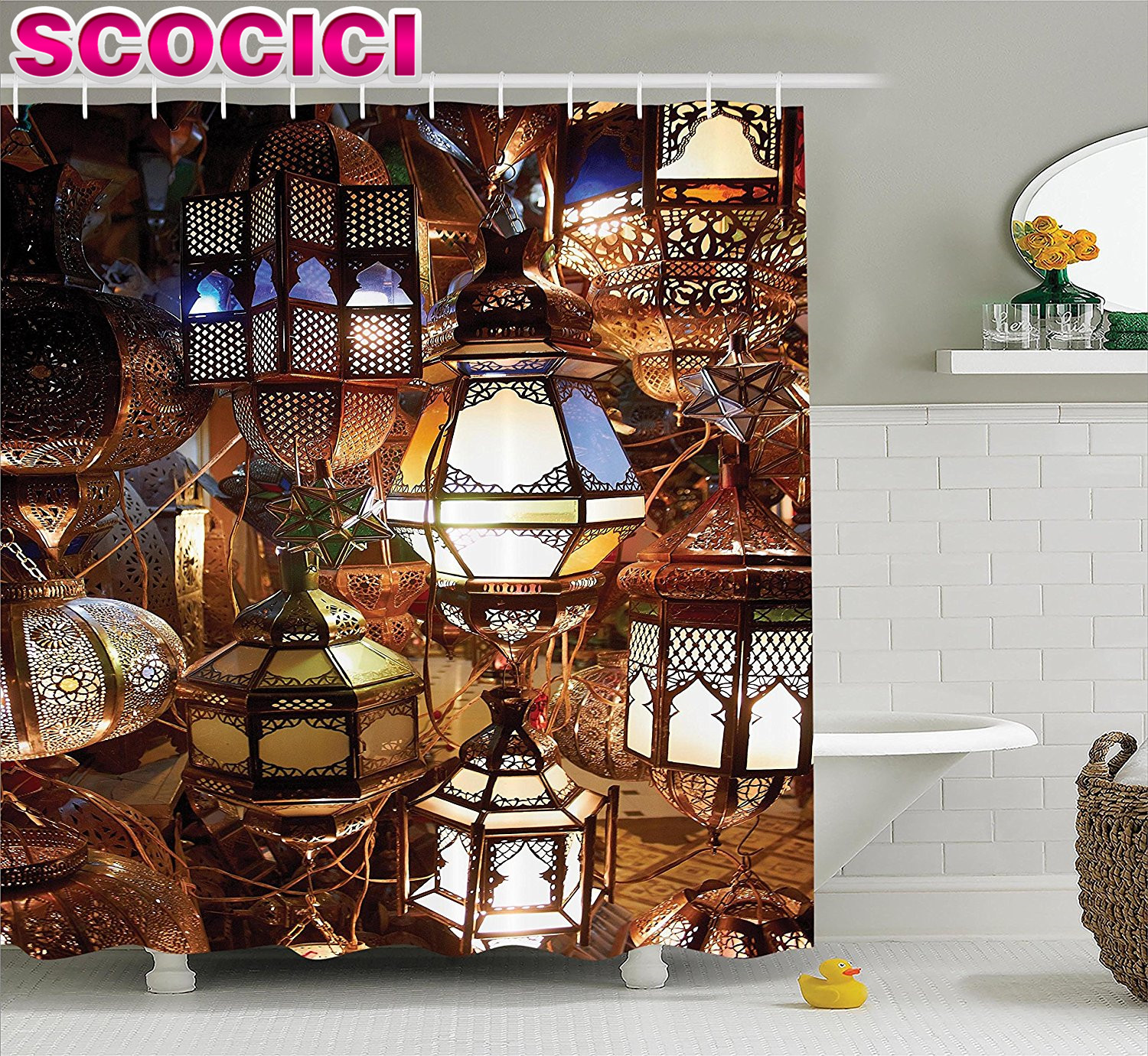 Moroccan curtains fabrics - Moroccan Decor Shower Curtain Arabic Lamps And Lanterns Souk Evening Culture Historical Picture Print Fabric Bathroom