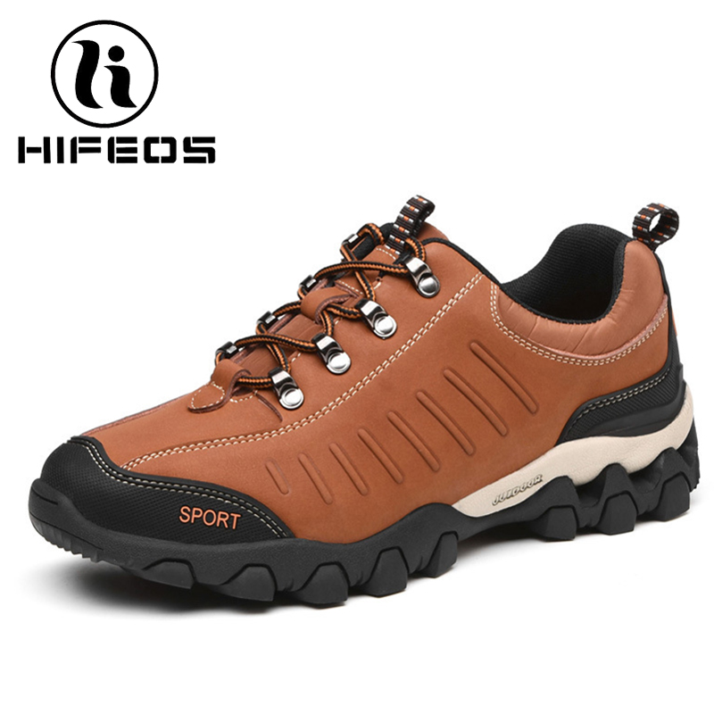 HIFEOS men's winter shoes outdoor hiking mountaineering sneakers leather comfortable boots breathable trekking anti-slip M069 hifeos outdoor hiking shoes anti slip boots lace invisible increased men s shoes comfortable breathable sneakers climing m065