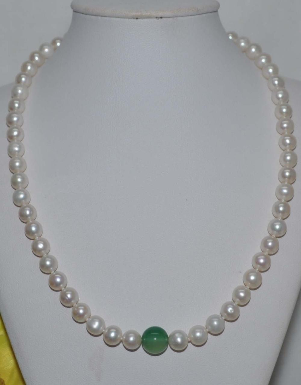 9 10mm Genuine White South Sea Green Jade Pearl Necklace 14k/20 Yellow Gold Clasp