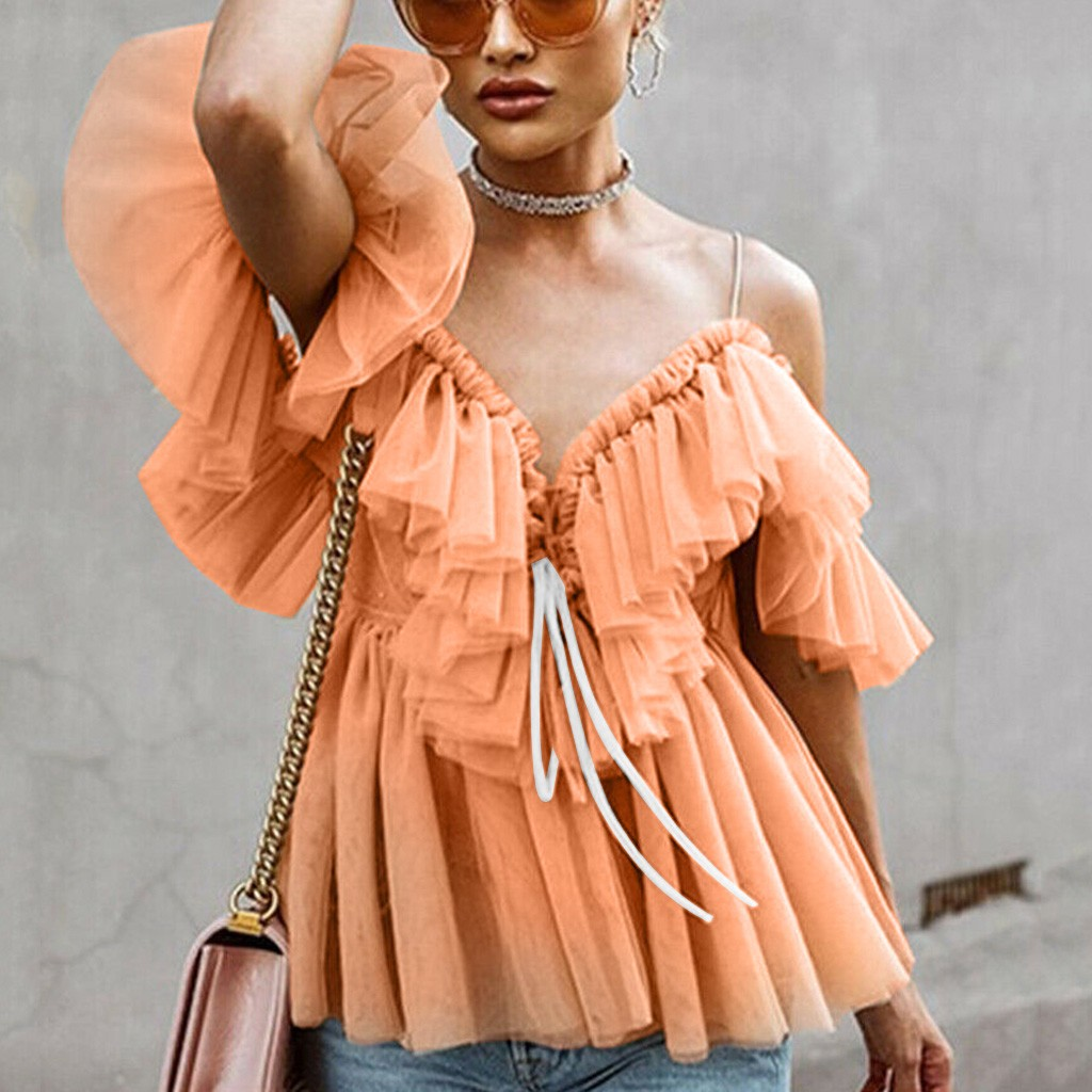 Womens Casual Summer Top Short Sleeve Sling Shirt Femme Ruffled Off-the-shoulder Lace Sexy Tumblr T Shrit Dames Basic Blusas