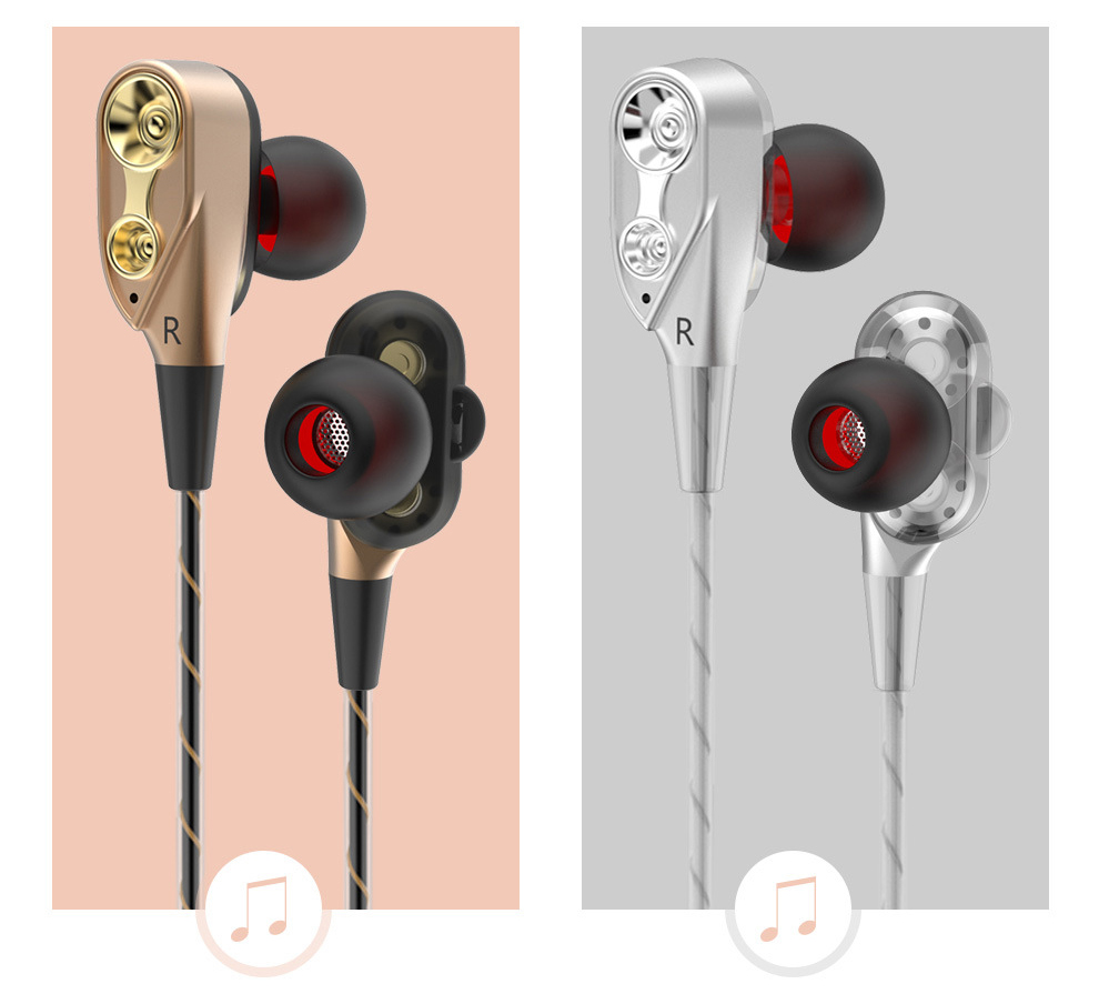 Earphones Headphones Bass Dual Drive Stereo In-Ear Earphones With Microphone Computer Earbuds For Phone Sport Headsets