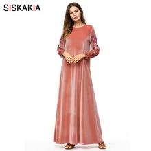 Siskakia Woman Long Dress Velvet Floral Embroidery Maxi Dres