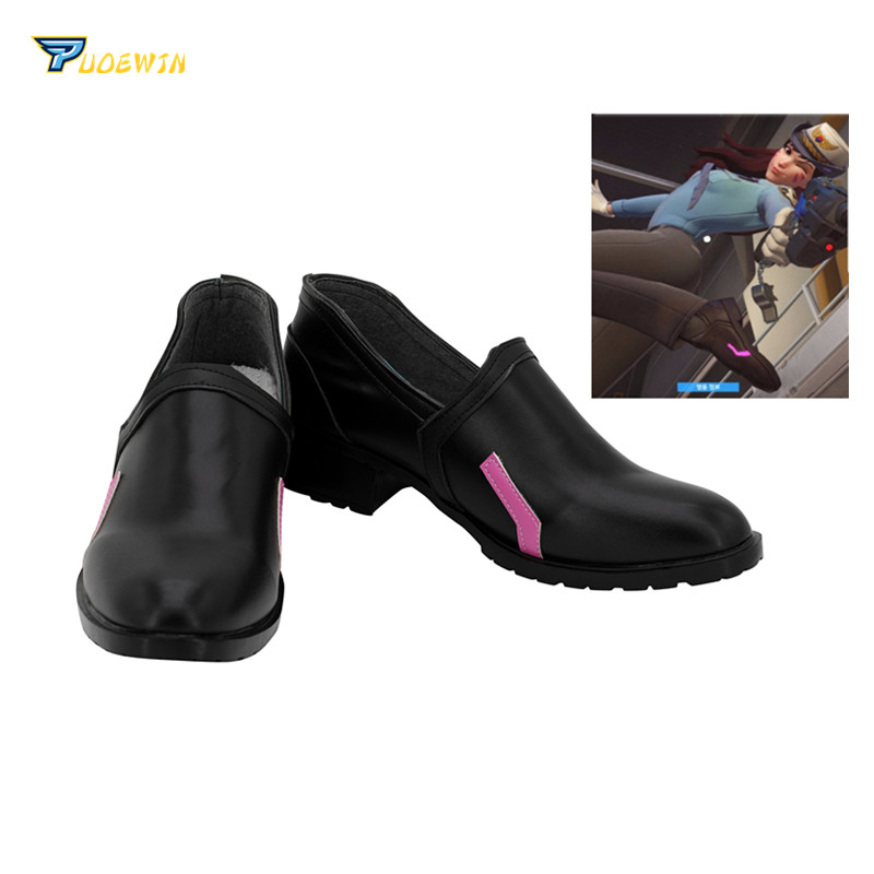 OW <font><b>DVA</b></font> <font><b>Shoes</b></font> Cosplay <font><b>DVA</b></font> Policewoman Skin Cosplay <font><b>Shoes</b></font> Black Boots Custom Made Any Size image