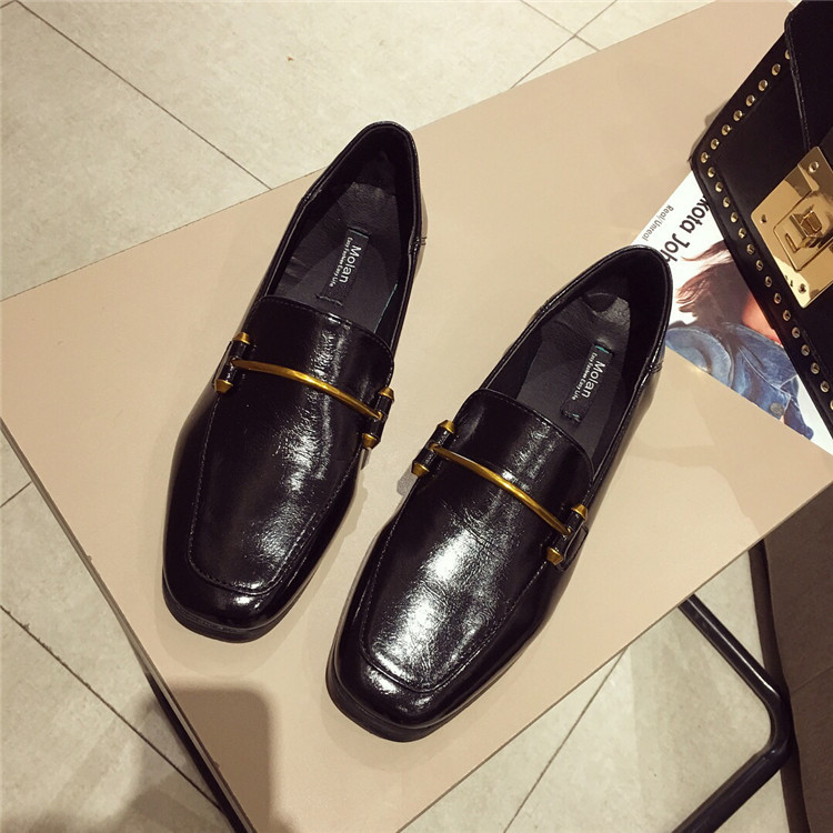 Fashion shoes for women 2018 new soft bottom British shoes woman square head single shoes female thick with flat shoes loafers 80