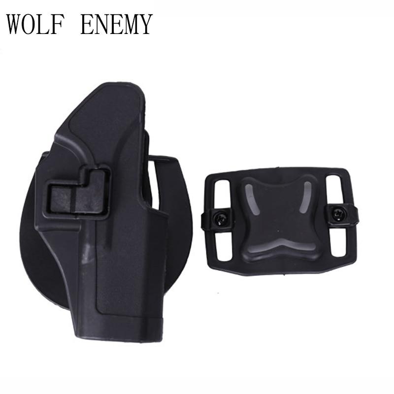 Tactical Compact Handgun Belt Holster Quick Draw Right Hand Gun Holster W/ Paddle Waist Belt for GLock 17 18 19 23 32