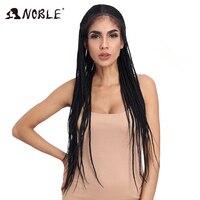 Благородный Синтетический Плетеный Синтетические волосы на кружеве парики для черный Для женщин 1b термостойкие 34 дюймов Волосы Заплетены