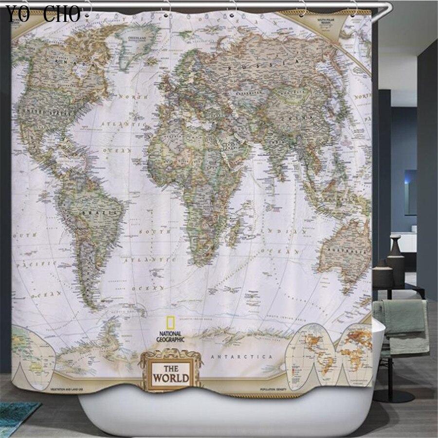 YO CHO World Map Pattern Creative Shower Curtain Basketball Pattern Bathroom curtain Waterproof Polyester Fabric 72*72+12 Hooks