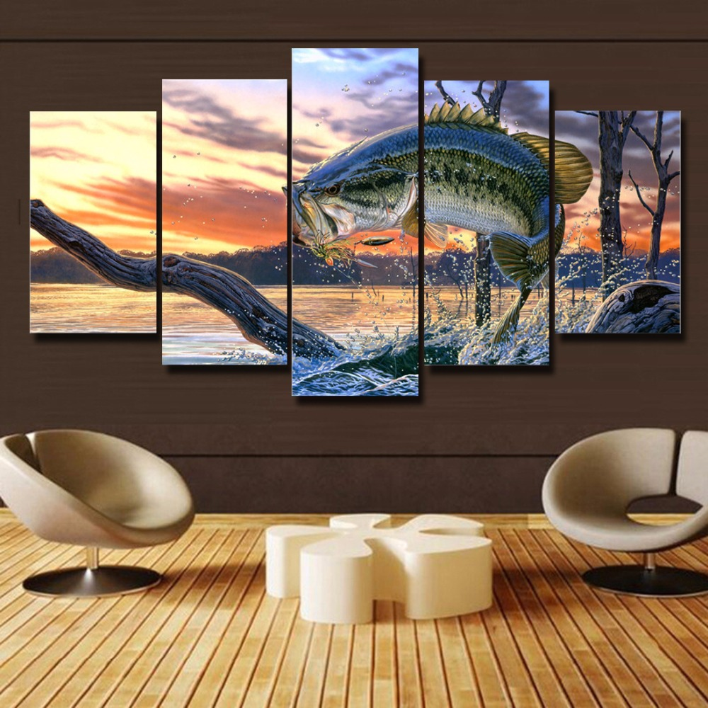 Free Shipping 5 Panels Bass Fishing Canvas Painting Home Decor For Living Room Canvas Art Printed