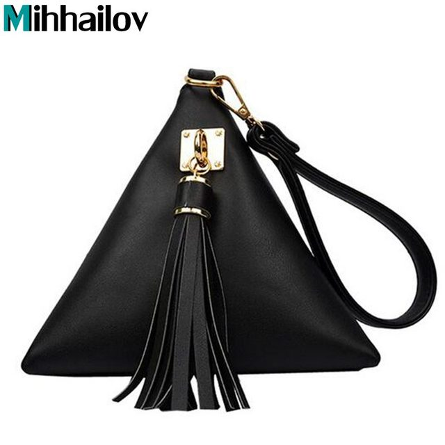 2018 New European Trendy Small Purse Fringe Bag Las Wallet Triangle Women S Clutches Casual Leather Handbags