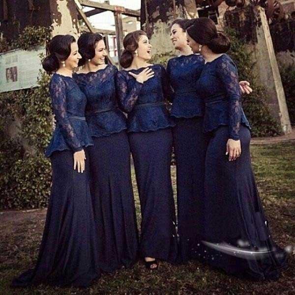 9d6577ef11 Azul marinho de Renda Vestidos Longos De Festa de Casamento Da Dama de  honra Vestidos Vestido Sereia de Manga Longa Parágrafo Festa Vestido Dama