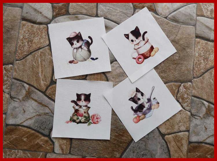 """Милый Кот 12x12 см цифровая печать маслом для печати ткань для самостоятельного окрашивания сшивание лоскутов по принципу """"сделай сам"""" ткань Скрапбукинг для кошелек сумка патч-8 шт."""