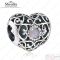 Christmas Gift 925 Sterling Silver Openwork October Signature Pink Crystal Heart Birthstone Charm Beads Fits European Bracelets