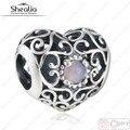 Presente de natal 925 Sterling Silver céu aberto outubro assinatura rosa coração de cristal Birthstone charme Beads serve pulseiras europeus