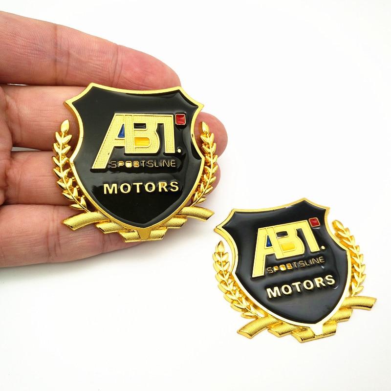 YONGXUN 3D Golden Chrome Case For Volkswagen Emblem Decal Badge Sticker ABT Motor Sports Sportsline Car Styling Badge Decal