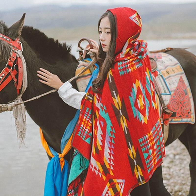 200*80CM Autumn Winter Women Scarf Cloak Imitation Cashmere Ethnic Style Warm Shawl Thicken Ladies Wrap Scarves -MX8