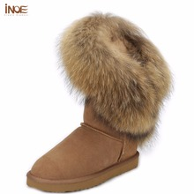INOE new fashion style big natural fox fur tassels lady snow boots for women cow leather winter shoes high boots black brown