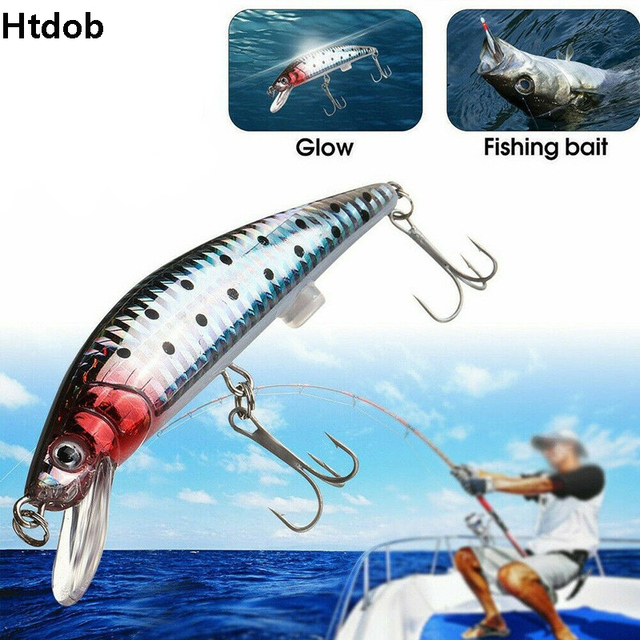 1PC USB Rechargeable LED Light Fishing Lure Twitching Fishing Lures Bait Hooks Vibration Electronic Fishing Baits Lures Kit Bass