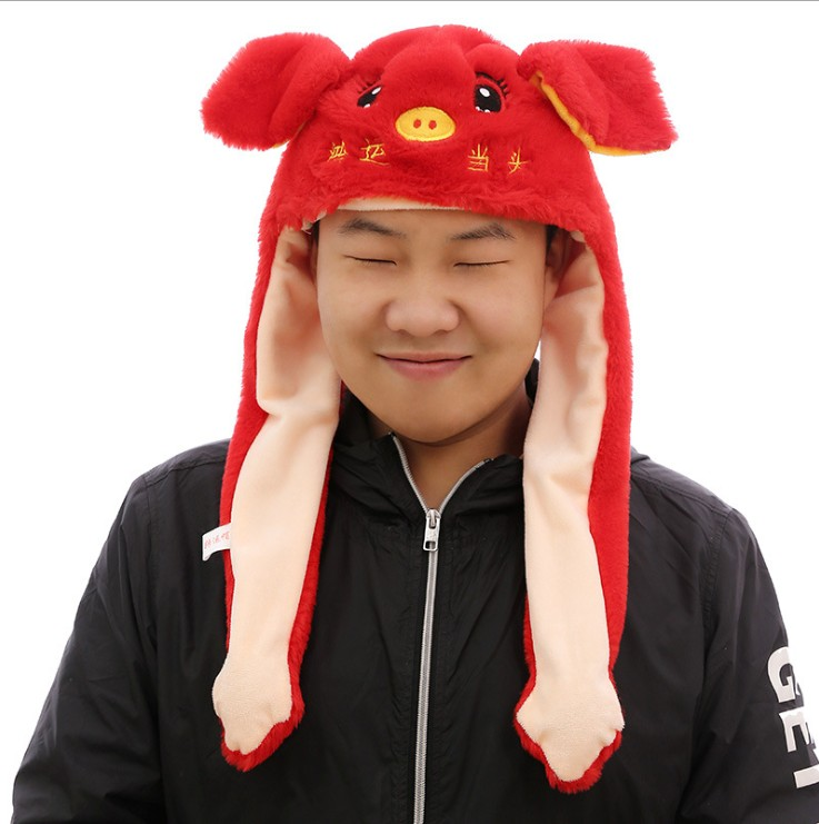 Hot Sell Fashion Moving Hat Rabbit Ears Plush Sweet Cute Airbag Cap 2 Color Can Be Choose Girl's Hats Girl's Accessories