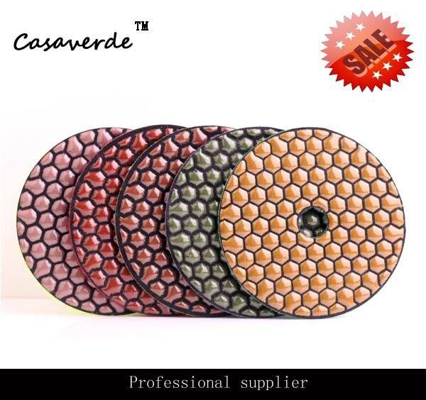 цена на DC-WHCPP02 4 inch (100mm) shiny color Hexagon diamond dry polishing pads for polishing granite,marble and concrete