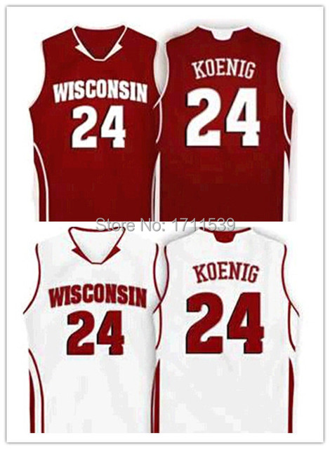 9a38696b082f 24 Bronson Koenig Wisconsin Badgers College basketball Jersey red ...