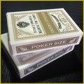 Venta caliente Original genuiIne esmerilado precio al por mayor de Oro + Plata PVC plástico naipes Poker Texas