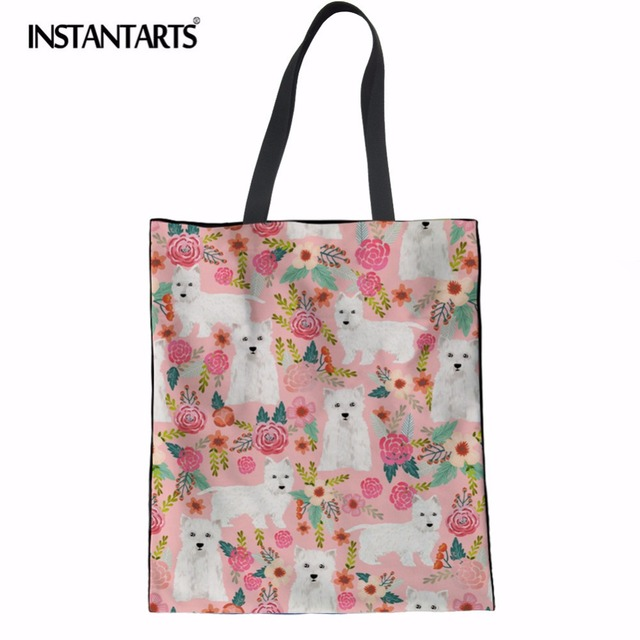 INSTANTARTS Cute Westie Florals Printing Women Linen Shopping Bag Casual Cotton Reusable Bag Girls Lady Large Tote Shoulder Bags