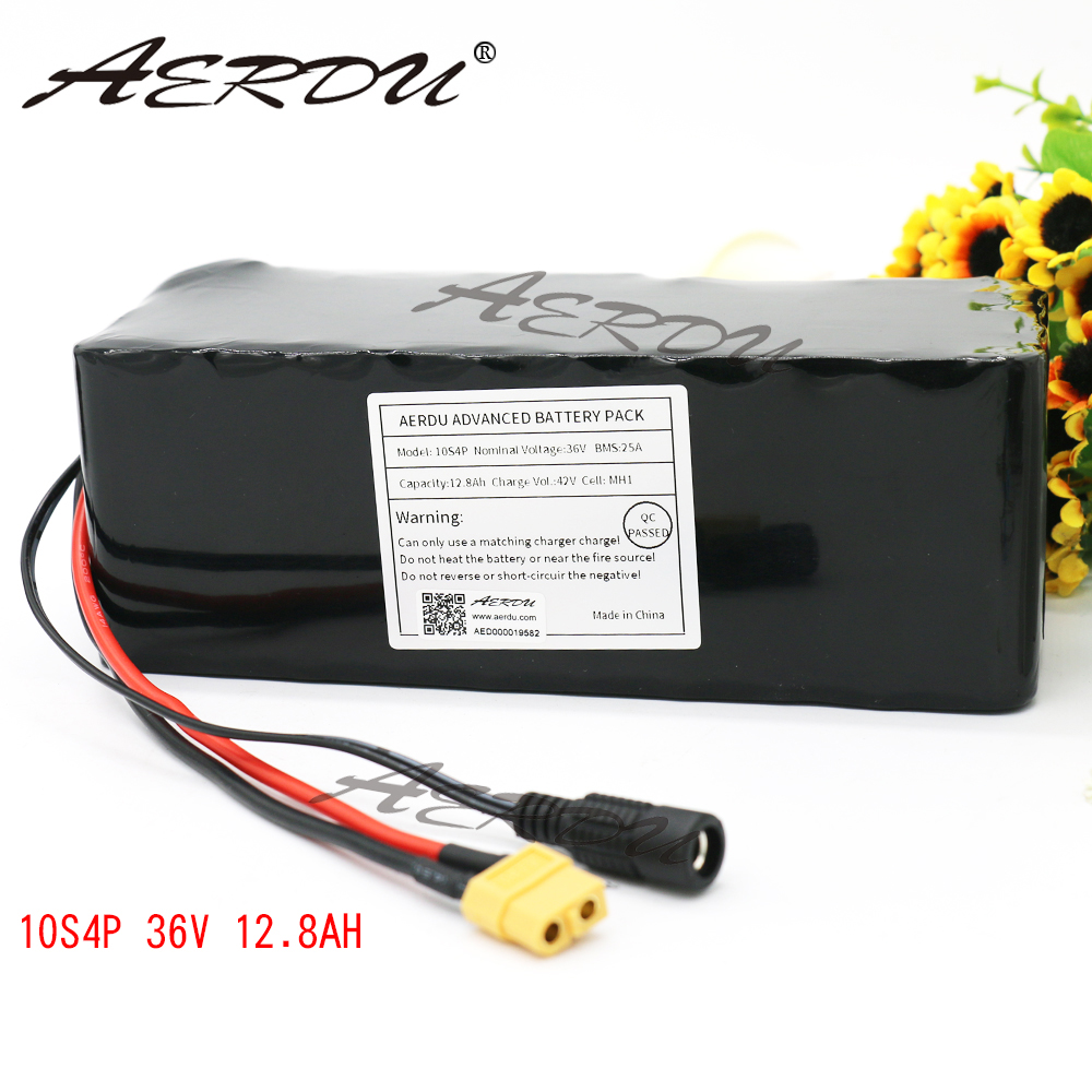 AERDU 36V 10S4P 12 8Ah For LG MH1 42V lithium battery pack ebike electric car bicycle
