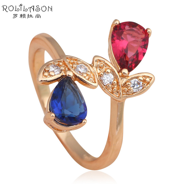 US $3 64 30% OFF|Amazing Gift Gold tone Health Fashion Jewelry Nickel &  Lead Free Color Crystal AAA Zircon Element Ring Sz #7 #8 #9 JR2042-in Rings