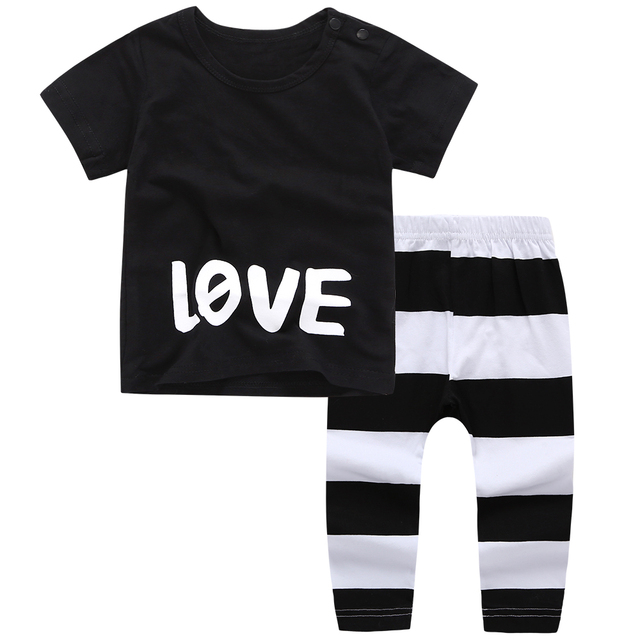 f3175b48503 2019 Summer New Baby Boy Clothes short-sleeved letter T shirt stripe Pants baby  rompers